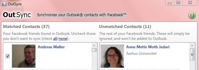 sync Facebook pictures with outlook.