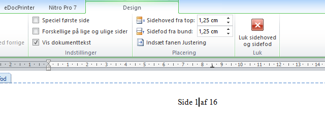 Side tal i word, ingen side tal på første side of ret total antal sider.
