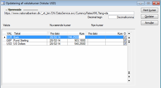 Opdatering af Valutakurser i c5.