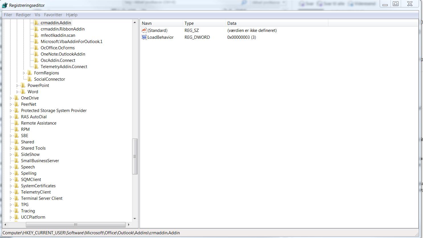 crm toolbar load ikke i outlook