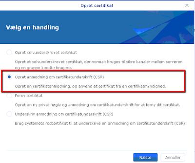 Certifikat til synology