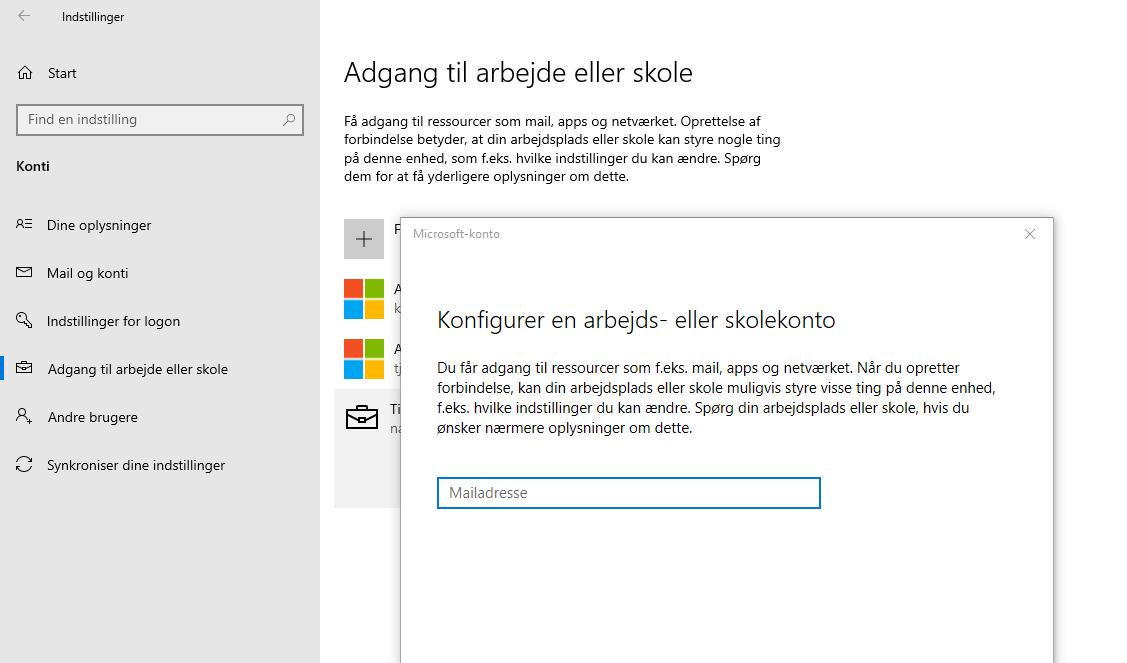 Sådan forbinder du til at Azure AD efter du er logget ind med en lokal konto på PC'er